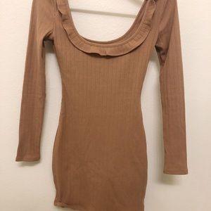 Long sleeve tan dress